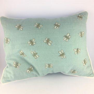 Duck egg blue butterfly cushion