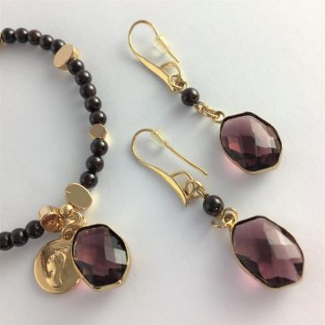 Garnet crystal earrings and bracelet