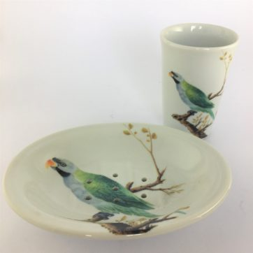 India Jane green parrot soap dish and beaker