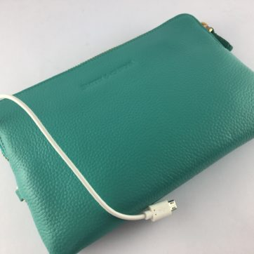 Turquoise leather power purse