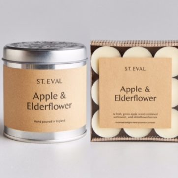 St Eval Apple & Elderflower scented tin and tealights