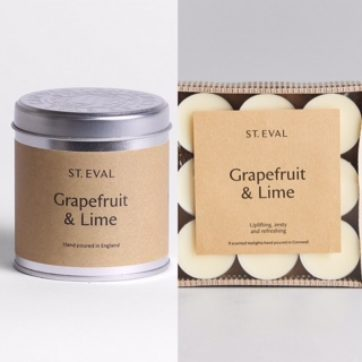 St Eval Grapefruit & Lime scented tin and tealights