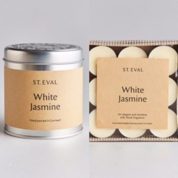 St Eval White Jasmine scented tin and tealights