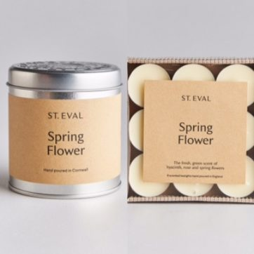 St Eval Spring Flowers scented tin and tealights
