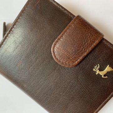 Ashwood compact leather purse/wallet – brandy