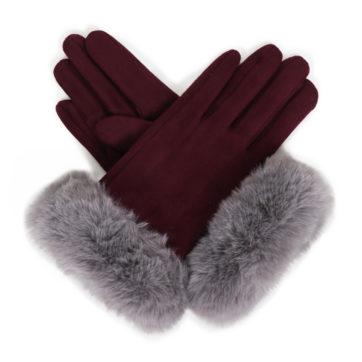 Faux suede gloves – damson