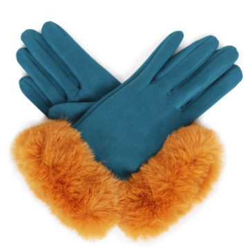 Faux suede gloves – teal/mustard