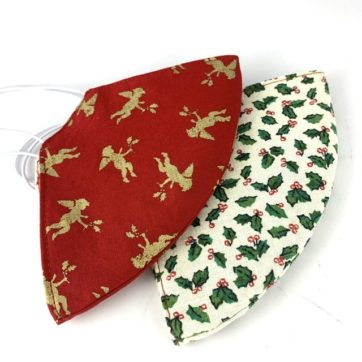 Pair of Christmas cotton face coverings