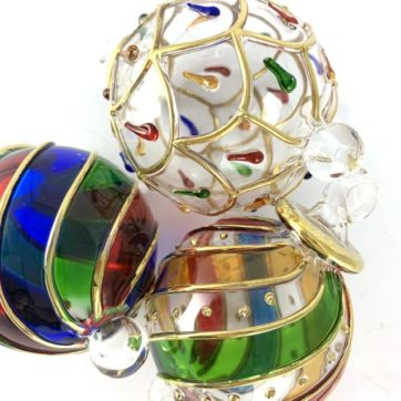 Three hand blown small Egyptian baubles – multi coloured