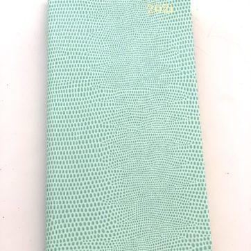 Caspari slimline diary – duck egg faux snakeskin