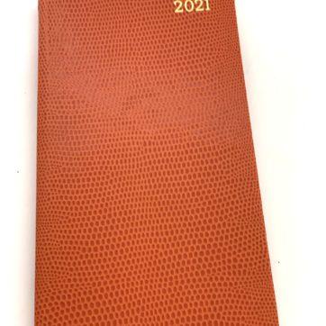 Caspari slimline diary – orange faux snakeskin
