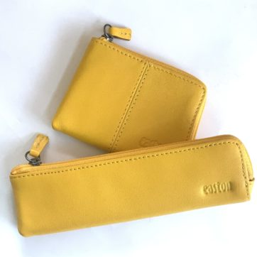 Leather coin purse and pencil case – Yellow