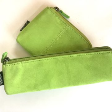 Leather coin purse and pencil case – Lime