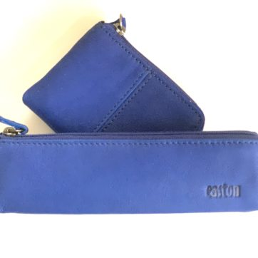 Leather coin purse and pencil case -Blue