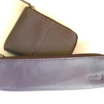 Leather coin purse and pencil case -Purple