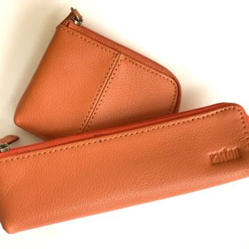 Leather coin purse and pencil case -Mango