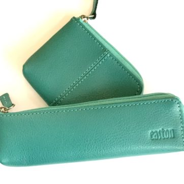 Leather coin purse and pencil case -teal