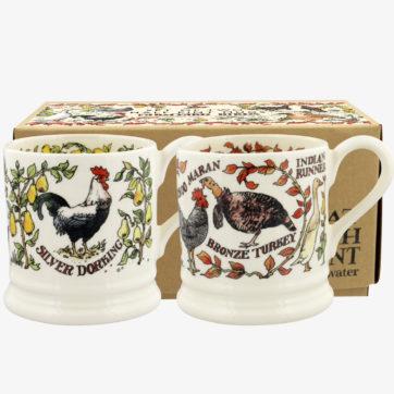 Emma Bridgewater Farmyard Birds Pair of half pint mugs