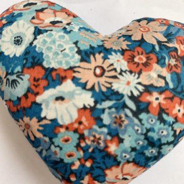 Lavender filled LIBERTY heart – blue multi